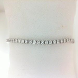 White 14 Karat Adjustable Bracelet With 44=0.97Tw Round Diamonds