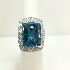 White 14 Karat Ring With One 9.84Ct Square Cushion Blue Topaz And 132=0.98Tw Round Diamonds