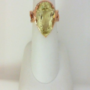 Rose 14 Karat Ring With One 8.00Ct P Li/Qtz And 0.44Tw R Diamonds
