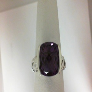 Sterling Silver Fashion Ring With One 10.00X10.00Mm Cushion Amethyst And 2=0.05Tw Round Rubys Name: Dylani Collection- Amethyst Ring Size: 6.5
