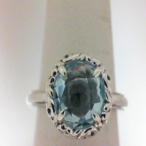 Sterling Silver Fashion Ring With One 8.00Mm Round sky Blue Topaz