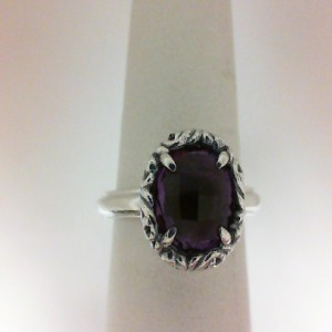 Sterling Silver Fashion Ring With One 8.00Mm Round Amethyst
