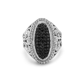 White Sterling Silver Fashion Ring With 44=0.35Tw Round Whtsaps And 51=1.25Tw Round Black Sapphires Name: Precious Pavé 25mm Ring Size: 6.5