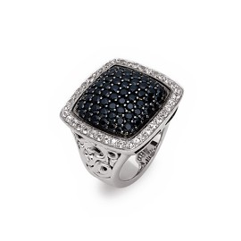 White Sterling Silver Fashion Ring With 68=2.46Tw Round Black Sapphires And 40=0.80Tw Round Wihte sappphires Name: Precious Pavé 21mm Ring Size: 6.5
