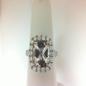 White 18 Karat Fashion Ring With One 2.58Ct Cushion Cut Morganite And 74=1.30Tw Round G/H Si2 Diamonds