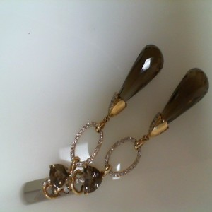 14 Karat Y/Gold Smokey Quartz & Rnd Diamond Earring
