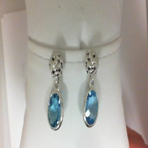 Sterling Silver Filigree Dangle Earrings With 2=10.00X8.00Mm Oval Blue Topazs Style Name: Dylani Collection- Blue Topaz