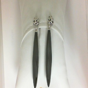 Sterling Silver Filigree Drop Earrings With 2=38.00X7.00Mm MarquiseWhite Quartz Over Hematites