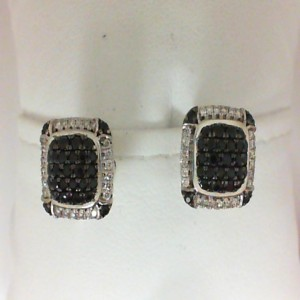 :Sterling Silver & 14Kw Earrings With 48=0.26Tw Round Diamonds And 56= Round Black Sapphires