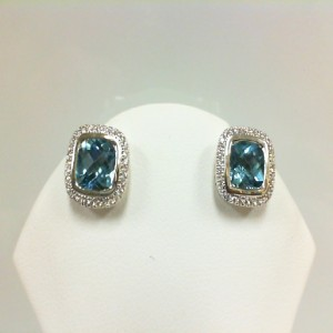 Sterling Silver Stud Earrings With 2=7.00X7.00Mm Cushion Cut Blue Topazs And 64=0.25Tw Round Diamonds