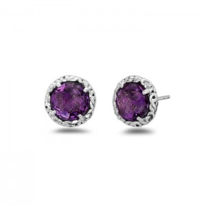 Sterling Silver & 14Kw Filigree Stud Earrings With 2=8.00Mm Round Amethysts