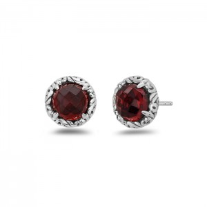 Sterling Silver & 14Kw Filigree Stud Earrings With 2=8.00mm Round Garnets Style Name: Dylani