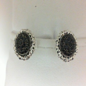Sterling Silver & 14Kw Earrings With 38= Round Black Sapphires