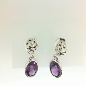 White Sterling Silver Filigree Dangle Earrings With 2=10.00X8.00Mm Oval Amethysts Style Name: Dylani Collection