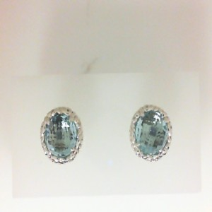 Sterling Silver & 14Kw Earrings With 2=8.00Mm Round sky Blue Topaz