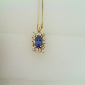 Lady S Yellow 14 Karat Pendant Pendants With One 0.95Ct Cushion Tanzanite And 14=0.35Tw Round Diamonds