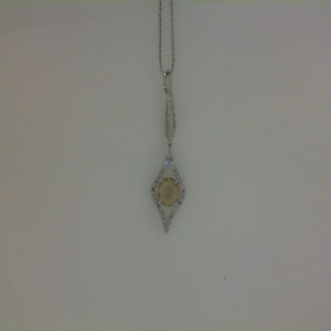14 Karat W/G Lime Quartz With .32 Ct Diamond Pendant W/Chain