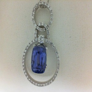 Lady S White 14 Karat Pendant Pendants With One 3.60Ct Cushion Tanzanite And 65=0.70Tw Round Diamonds