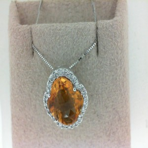 14 Karat W/Gold Citrine And Diamond Pendant