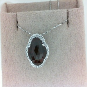 14 Karat W/Gold Garnet And Diamond Pendant