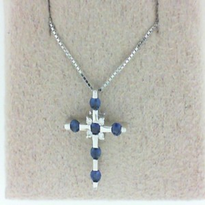 14 Karat W/Gold Sapphire And Diamond Cross W/Chain