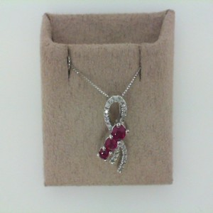14Kw .70Ctw Ruby & .11Ctw Diamond Pendant W/ Chain