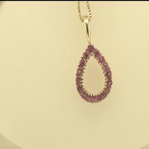 14 Karat Y/G Pink Sapphire Drop Pendant W/Chain
