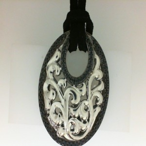 Lady s Sterling Silver Pendants With 82= Round Black Sapphires Length: 18 Leather Cord