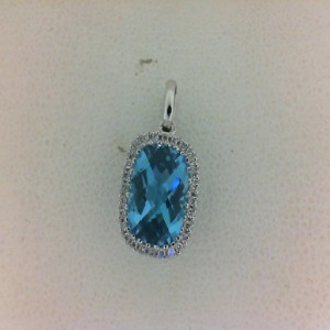 Lady S White 14 Karat Pendants With One 2.43Ct Cushion Cut Blue Topaz And 28=0.09Tw Round Diamonds
