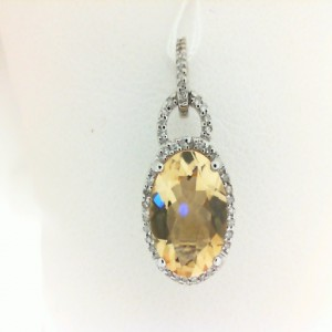 White 14 Karat Pendant With One 3.16Ct Oval Citrine And 0.13Tw Round Diamonds