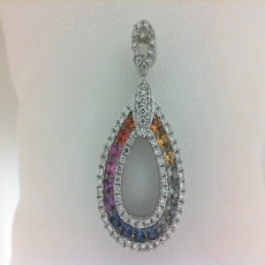 White 18 Karat Pendant With 81=0.29Tw Round Diamonds And 17=0.42Tw Round Sapphires With 14Kt Chain
