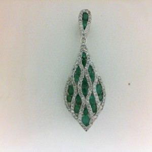 White 14 Karat Pendant With 18=0.58Tw Round Emeralds And 120=0.34Tw Round Diamonds