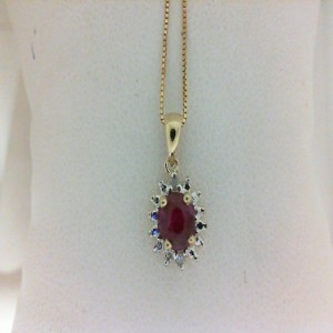 Yellow 14 Karat Pendant With One 0.59Ct Oval Ruby And 2=0.02Tw Round Diamonds