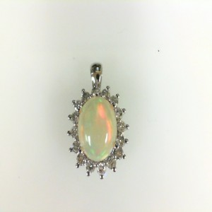 White 14 Karat Pendant With One 10.00X8.00Mm Oval Opal And 16=0.46Tw Round Diamonds Style Name: Mined In Ethiopia Africa Style: Box Metal: 14 Karat Color: White Length: 18