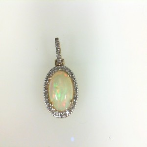 Yellow 14 Karat Pendant With One 10.00X8.00Mm Oval Opal And 35=0.17Tw Round Diamonds Style: Box Metal: 14 Karat Color: Yellow Length: 18