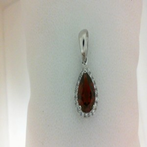 White 14 Karat Pendant With 20=0.12Tw Round Diamonds And One 1.33Ct Pear Garnet