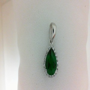 White 14 Karat Pendant With 20=0.12Tw Round Diamonds And One 0.80Ct Pear Created Emerald