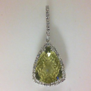 White 14 Karat Pendant With One 12.00X12.00Mm Trillian Lemon Quartz And 30=0.30Tw Round Diamonds