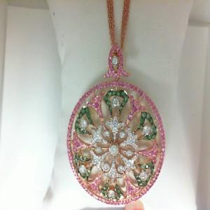 Two-Tone 18 Karat Pendant 68=0.93Tw Round Diamonds 162=1.29Tw Round Pink Sapphires 60=0.65Tw Round Tsavorite Garnets