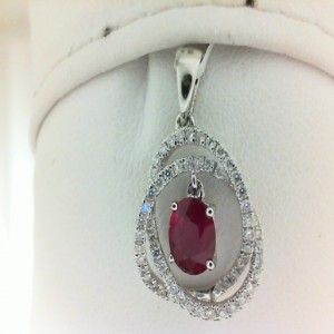 White 14 Karat Pendant With One 0.66Ct Oval Ruby And 62=0.30Tw Round Diamonds