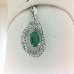 White 14 Karat Pendant With 62=0.31Tw Round Diamonds And One 0.63Ct Oval Emerald