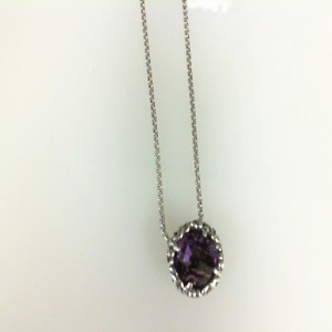 Sterling Silver Filigree Pendant With One 8.00Mm Round Amethyst with 17 Venetian Box