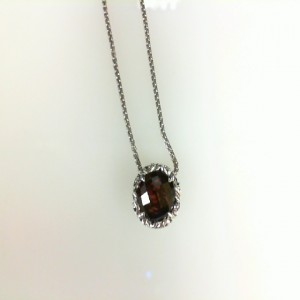 Sterling Silver Filigree Pendant With One 8.00mm Round Garnet Style Name: Dylani Style: Venetian Box Metal: Sterling Silver Length: 17