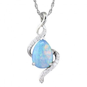 White 14 Karat Pendant With 15=0.11Tw Round G/H Si1 Diamonds And One 0.95Ct Pear Opal Style Name: Australian Opal Style: Box Metal: 14 Karat Color: White Length: 18