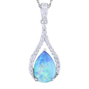 White 14 Karat Pendant With 27=0.21Tw Round G/H Si1 Diamonds And One Pear Opal .95 Ct Style Name: Australian Opal Style: Box Metal: 14 Karat Color: White Length: 18