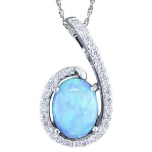 White 14 Karat Pendant With One 0.75Ct Oval Opal And 32=0.13Tw Round H/I Si1 Diamonds Style Name: Australian Opal Style: Box Metal: 14 Karat Color: White Length: 18
