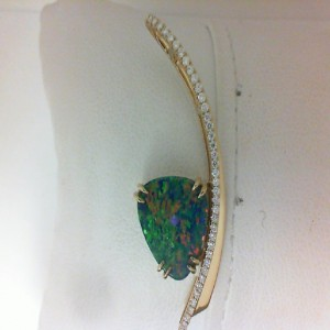 Yellow 14 Karat Pendant With 39=0.21Tw Round G/H Si1 Diamonds Style Name: Australian Opal Doublet