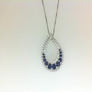 White 18 Karat Pendant With 69=0.62Tw Round Diamonds And 11=0.85Tw Round Sapphires Metal: 14 Karat Color: White Style Name: Baby Box Length: 18