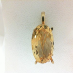 Yellow 14 Karat Pendant With One 8.20Ct Oval Citrine