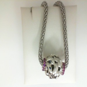 Sterling Silver ivy Pendant With 28=0.42Tw Round Pink Sapphires with 20 Panda chain